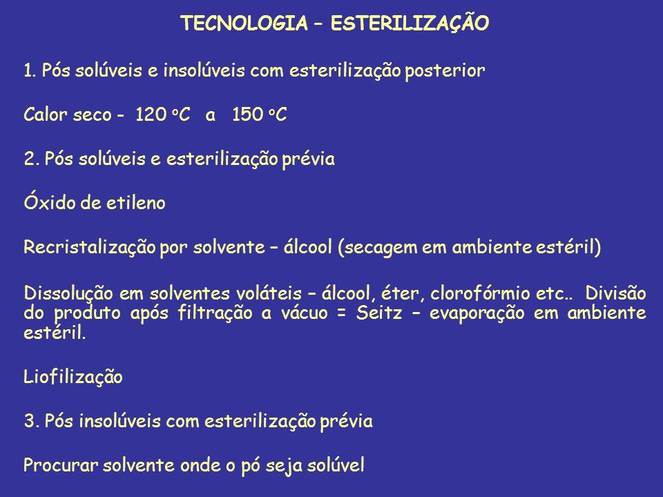 TECNOLOGIA – ESTERILIZAÇÃO 1. Pós solúveis e insolúveis com esterilização posterior Calor seco - 120 o C a 150 o C 2. Pós solúveis e esterilização pré