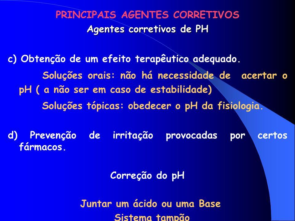 PRINCIPAIS AGENTES CORRETIVOS Agentes Anti-hidrolíticos Substituição total ou parcial da água por outros solventes.