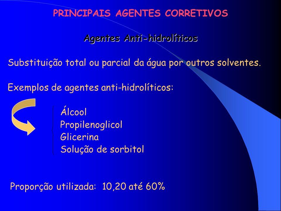 PRINCIPAIS AGENTES CORRETIVOS Agentes Antioxidantes OXIDAÇÃO: Processo que leva à decomposição de uma matéria prima, com perda de sua função.