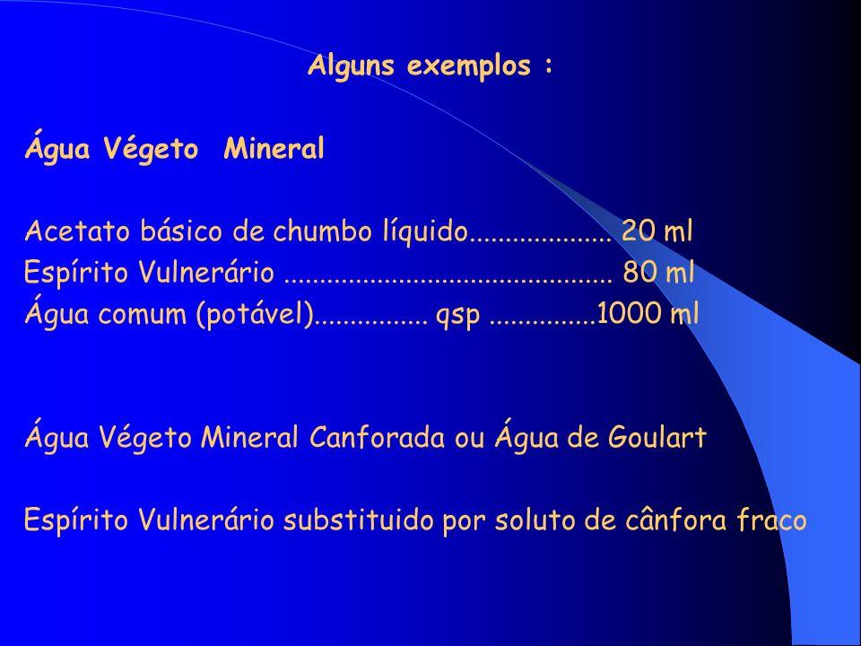 Alguns exemplos : Água Végeto Mineral Acetato básico de chumbo líquido.................... 20 ml Espírito Vulnerário..................................