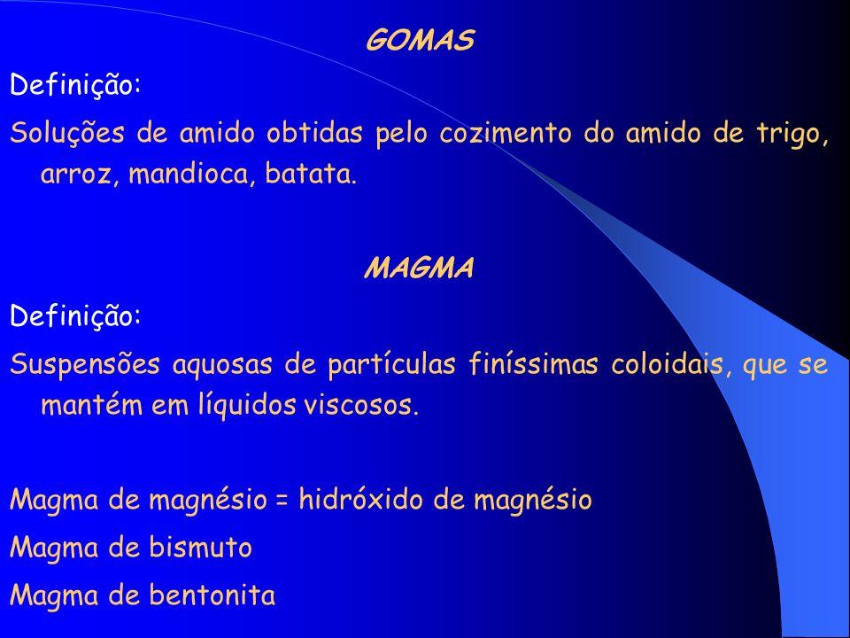 GOMAS Definição: Soluções de amido obtidas pelo cozimento do amido de trigo, arroz, mandioca, batata. MAGMA Definição: Suspensões aquosas de partícula