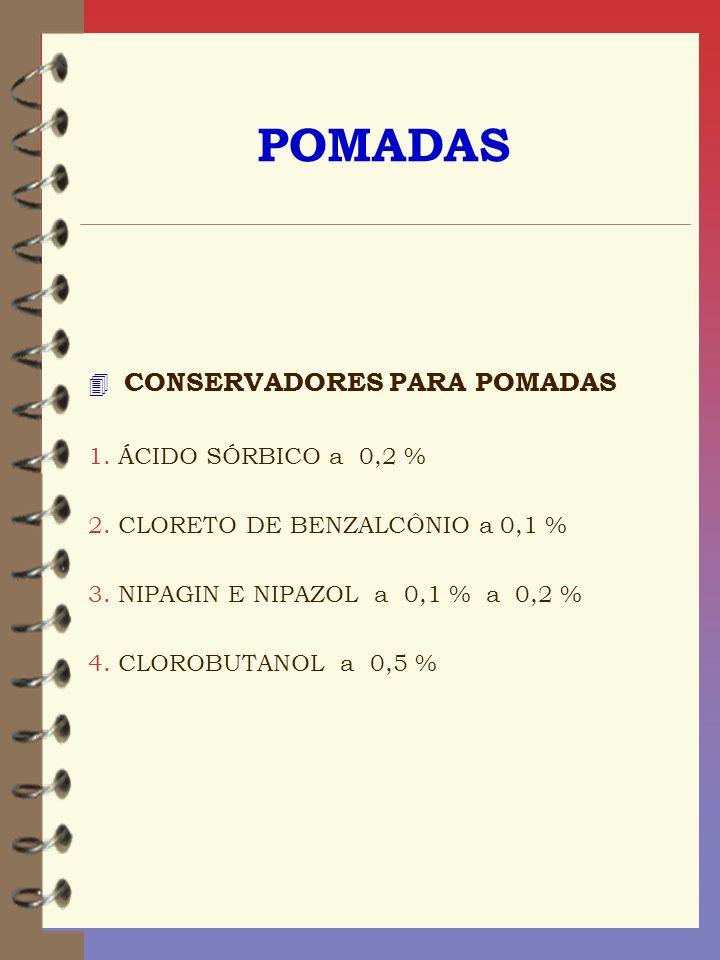 POMADAS 4 CONSERVADORES PARA POMADAS 1. ÁCIDO SÓRBICO a 0,2 % 2. CLORETO DE BENZALCÔNIO a 0,1 % 3. NIPAGIN E NIPAZOL a 0,1 % a 0,2 % 4. CLOROBUTANOL a