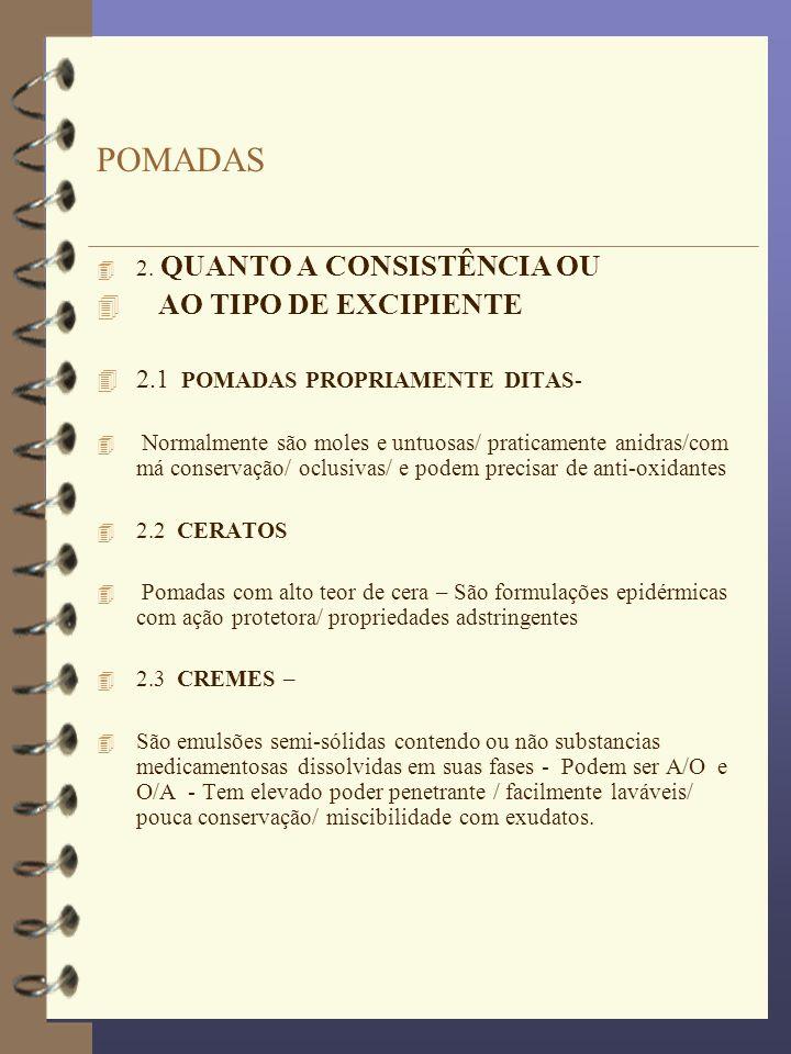 POMADAS 4 2. QUANTO A CONSISTÊNCIA OU 4 AO TIPO DE EXCIPIENTE 4 2.1 POMADAS PROPRIAMENTE DITAS- 4 Normalmente são moles e untuosas/ praticamente anidr
