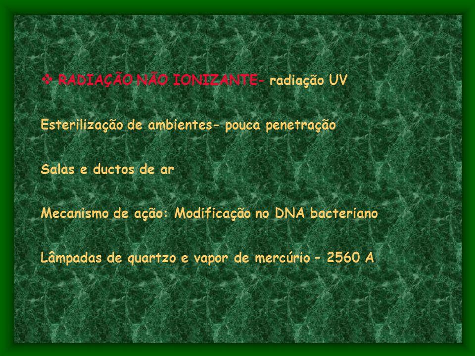 RADIAÇÃO NÃO IONIZANTE- radiação UV Esterilização de ambientes- pouca penetração Salas e ductos de ar Mecanismo de ação: Modificação no DNA bacteriano Lâmpadas de quartzo e vapor de mercúrio – 2560 A