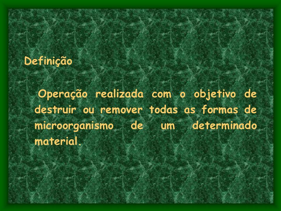 Definição Operação realizada com o objetivo de destruir ou remover todas as formas de microorganismo de um determinado material.