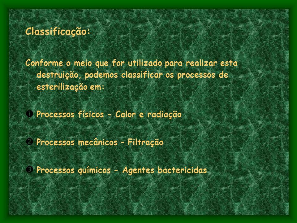 Classificação: Conforme o meio que for utilizado para realizar esta destruição, podemos classificar os processos de esterilização em: Processos físicos - Calor e radiação Processos mecânicos – Filtração Processos químicos - Agentes bactericidas