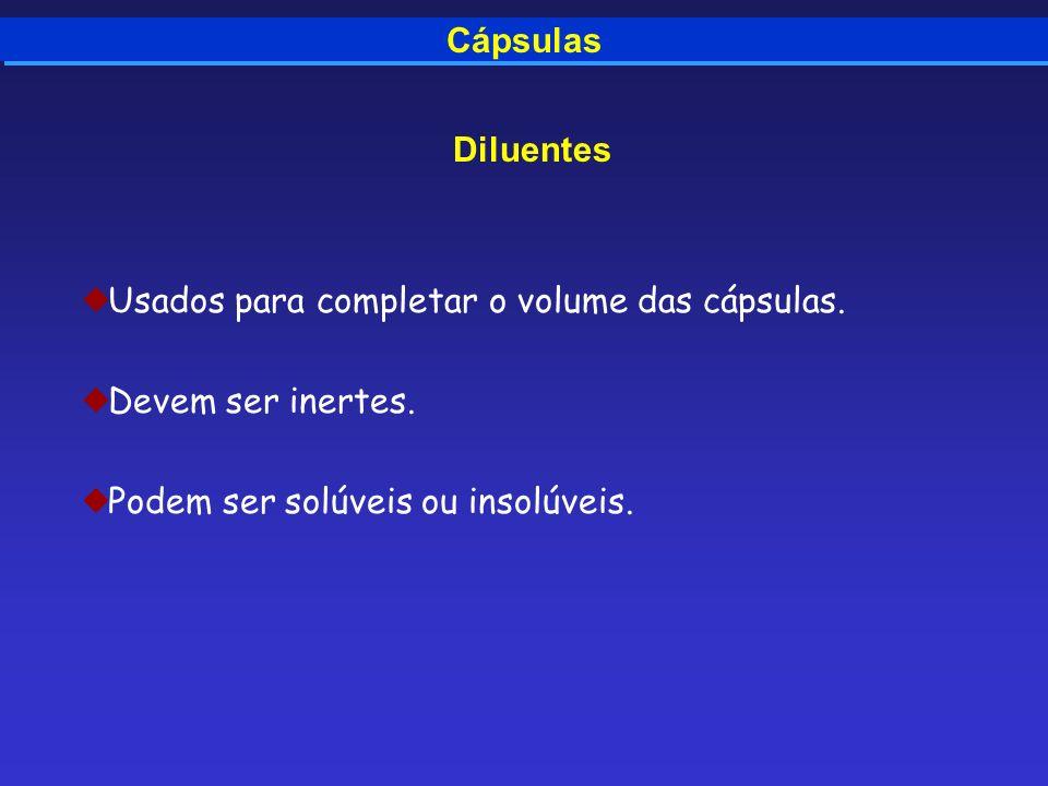 Cápsulas Diluentes Usados para completar o volume das cápsulas. Devem ser inertes. Podem ser solúveis ou insolúveis.