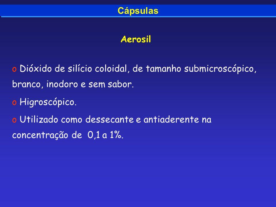 Cápsulas Aerosil o Dióxido de silício coloidal, de tamanho submicroscópico, branco, inodoro e sem sabor. o Higroscópico. o Utilizado como dessecante e