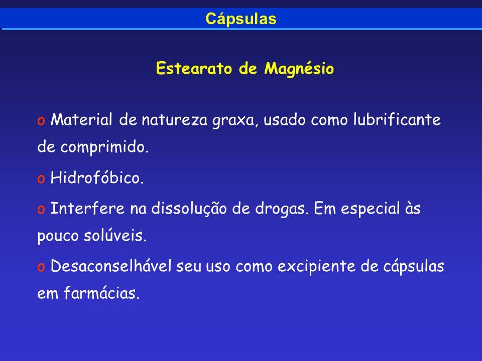 Cápsulas Estearato de Magnésio o Material de natureza graxa, usado como lubrificante de comprimido. o Hidrofóbico. o Interfere na dissolução de drogas