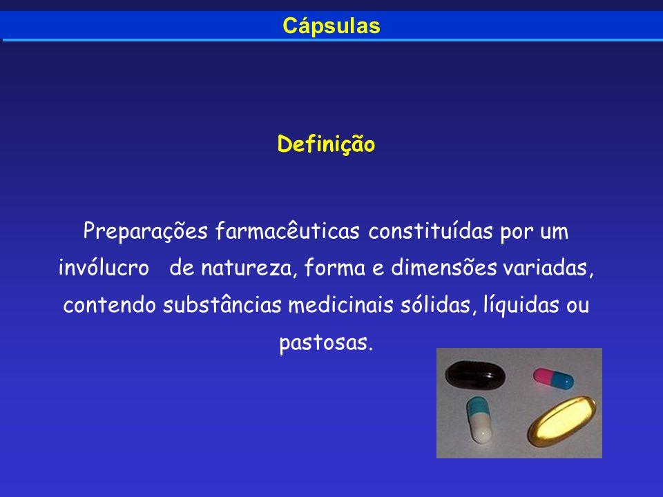Cápsulas Definição Preparações farmacêuticas constituídas por um invólucro de natureza, forma e dimensões variadas, contendo substâncias medicinais só