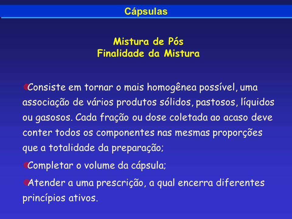 Cápsulas Mistura de Pós Finalidade da Mistura Consiste em tornar o mais homogênea possível, uma associação de vários produtos sólidos, pastosos, líqui