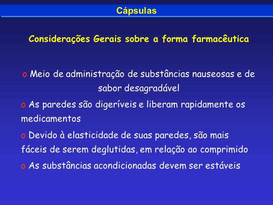 Cápsulas Considerações Gerais sobre a forma farmacêutica o Meio de administração de substâncias nauseosas e de sabor desagradável o As paredes são dig
