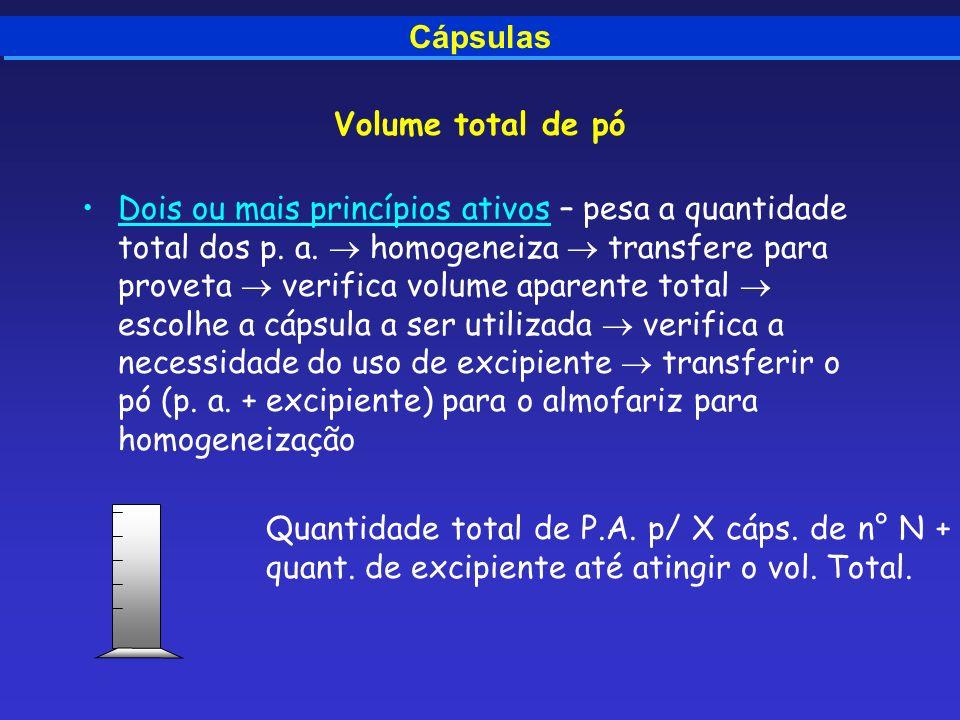 Volume total de pó Dois ou mais princípios ativos – pesa a quantidade total dos p. a. homogeneiza transfere para proveta verifica volume aparente tota