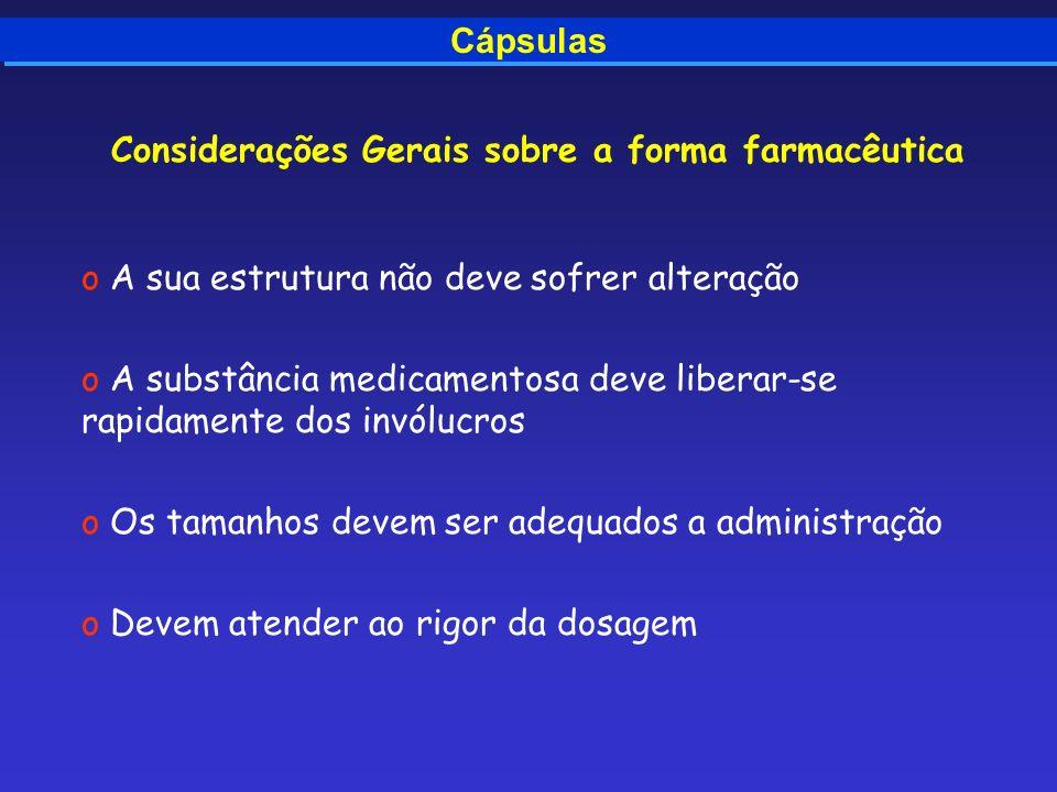 Cápsulas Considerações Gerais sobre a forma farmacêutica o A sua estrutura não deve sofrer alteração o A substância medicamentosa deve liberar-se rapi
