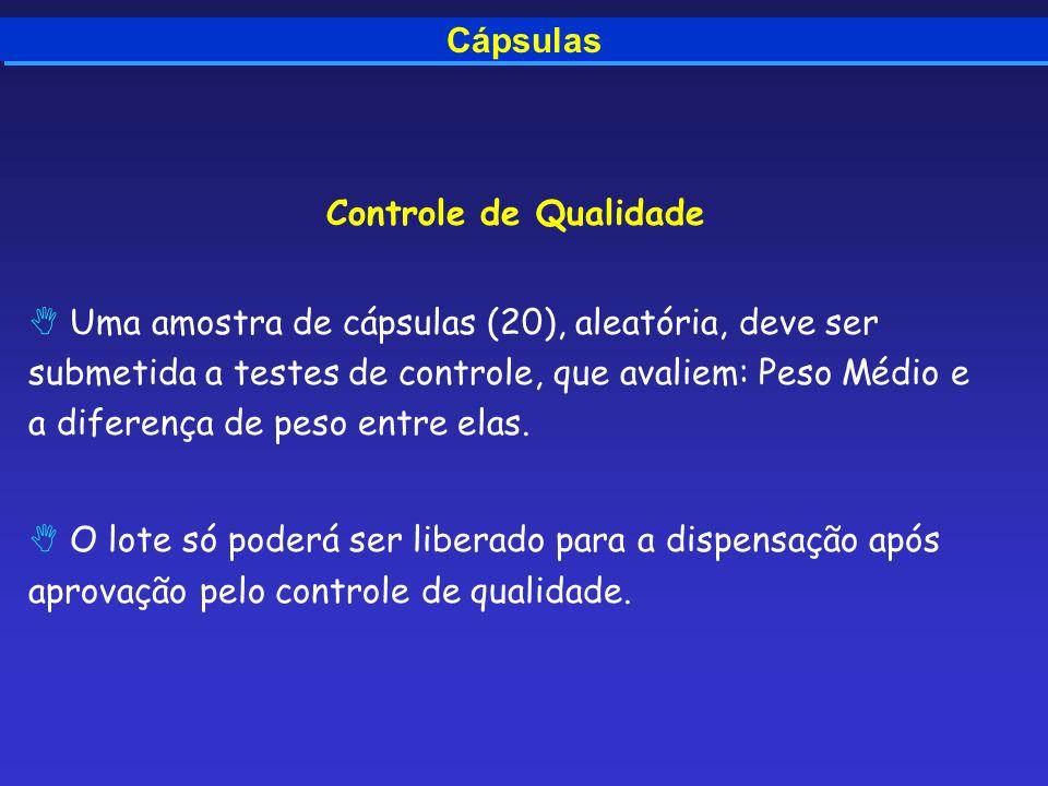 Cápsulas Controle de Qualidade Uma amostra de cápsulas (20), aleatória, deve ser submetida a testes de controle, que avaliem: Peso Médio e a diferença