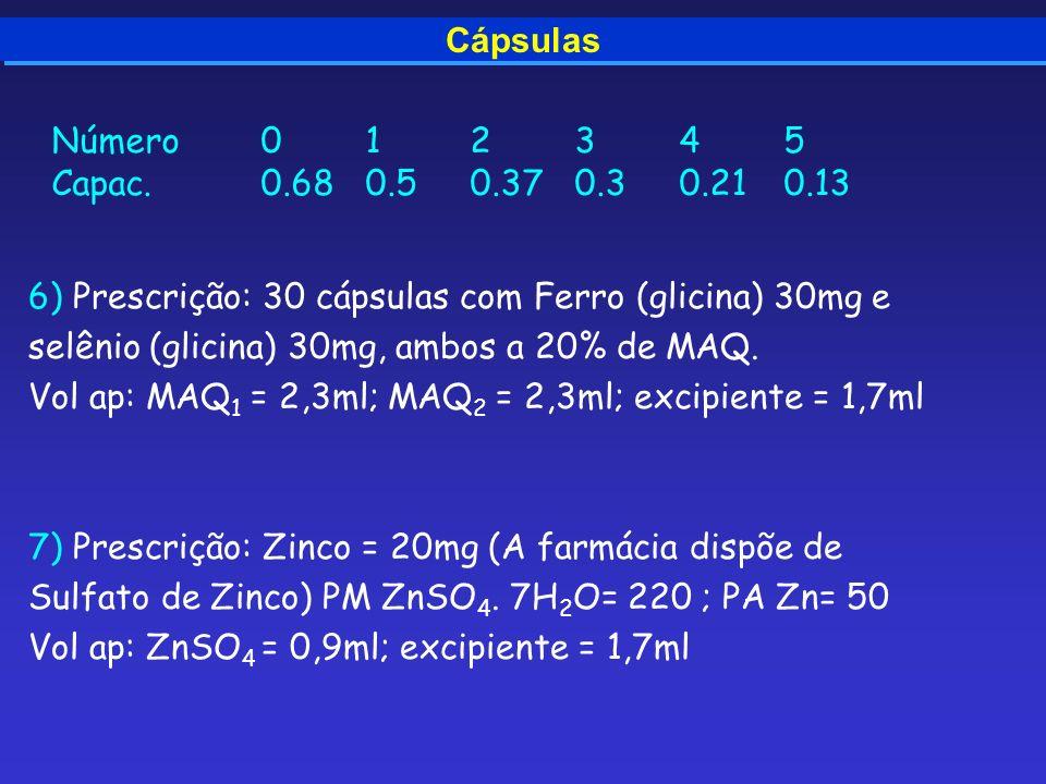 Cápsulas 6) Prescrição: 30 cápsulas com Ferro (glicina) 30mg e selênio (glicina) 30mg, ambos a 20% de MAQ. Vol ap: MAQ 1 = 2,3ml; MAQ 2 = 2,3ml; excip