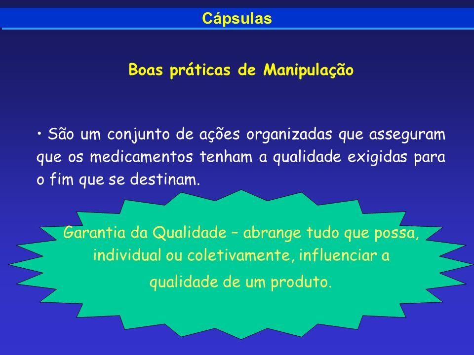 Cápsulas Boas práticas de Manipulação São um conjunto de ações organizadas que asseguram que os medicamentos tenham a qualidade exigidas para o fim qu