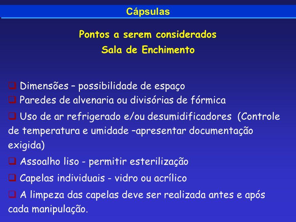 Cápsulas Pontos a serem considerados Sala de Enchimento Dimensões – possibilidade de espaço Paredes de alvenaria ou divisórias de fórmica Uso de ar re