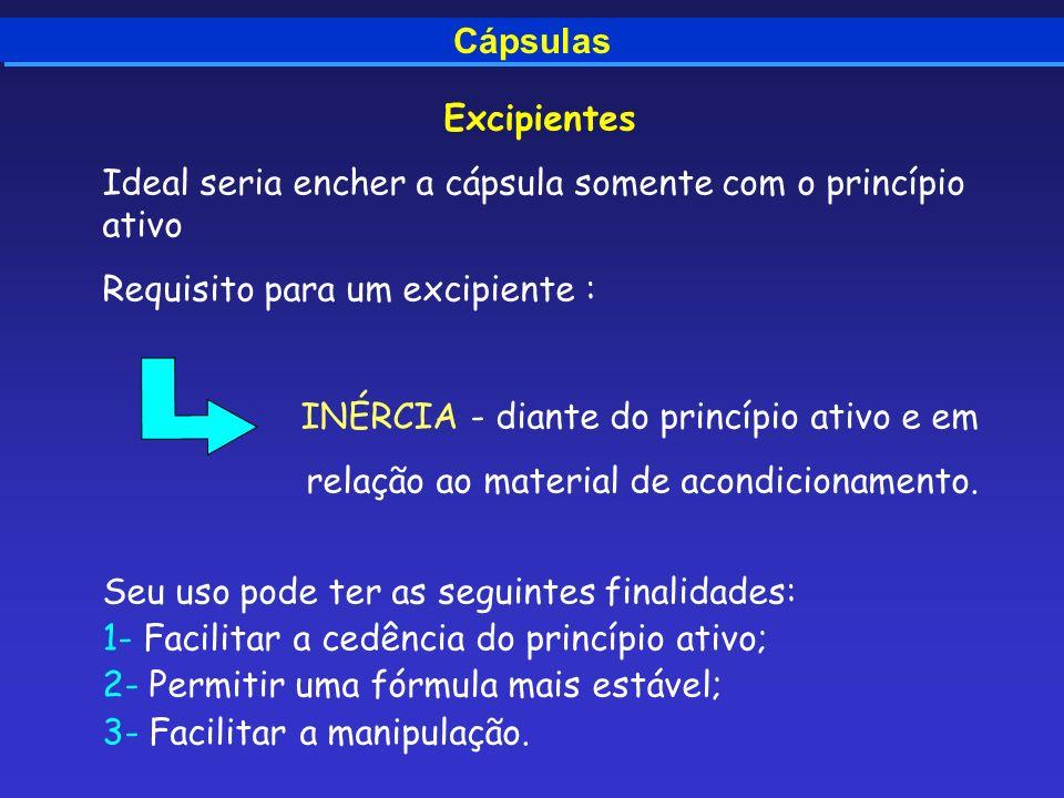 Cápsulas Excipientes Ideal seria encher a cápsula somente com o princípio ativo Requisito para um excipiente : INÉRCIA - diante do princípio ativo e e