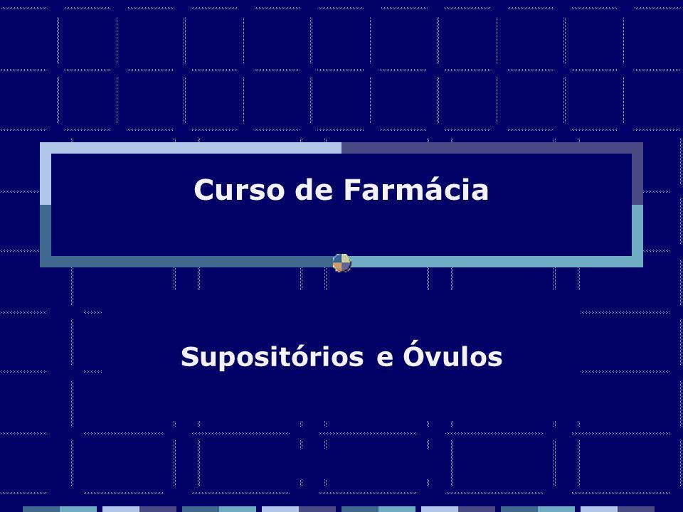 SUPOSITORIOS Zaida M F Freitas Farmacêutica – FF/UFRJ Os supositorios se prescrevem por peso e se moldam por volume Fator de deslocamento: Quantidade em gramas de base de supositorio deslocada por 1 grama de principio ativo Q = peso do supositorio – ( pa X f + pa2 x f2 +……..