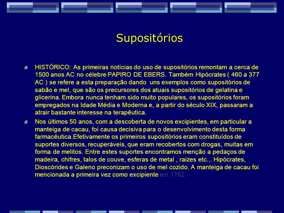 Zaida M F Freitas Farmacêutica – FF/UFRJ Supositórios São preparações de consistência sólida, contendo cada unidade uma dose com um ou vários princípios ativos.