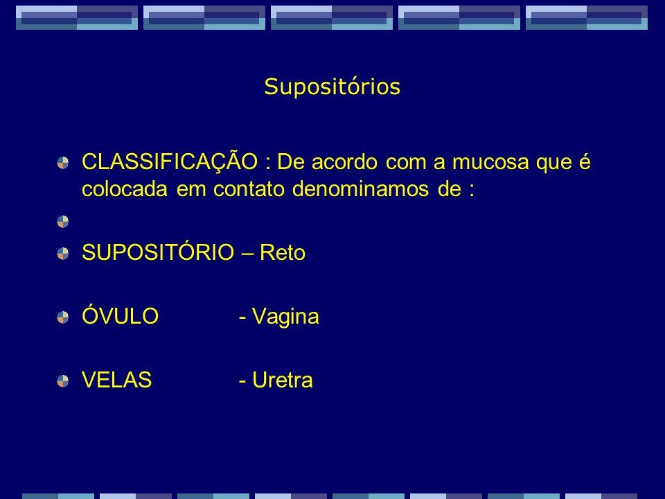 Zaida M F Freitas Farmacêutica – FF/UFRJ Modo de ação dos supositórios Um supositório pode ter uma ação mecânica, local ou sistêmica.