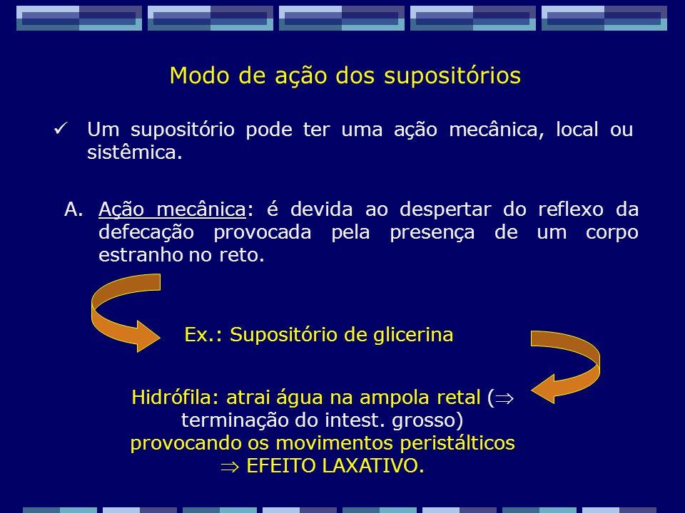 Zaida M F Freitas Farmacêutica – FF/UFRJ B.Ação local: pode ser uma ação anti-hemorroidal ou ainda uma ação antiparasitária, como por exemplo, contra oxiúros.