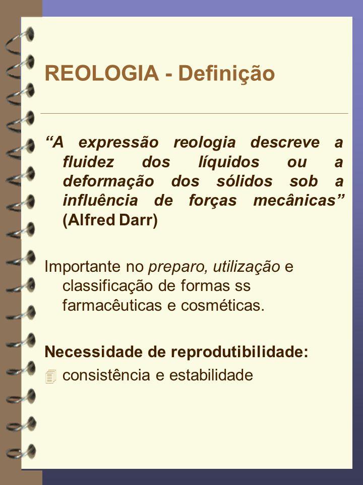 REOLOGIA - Definição A expressão reologia descreve a fluidez dos líquidos ou a deformação dos sólidos sob a influência de forças mecânicas (Alfred Dar
