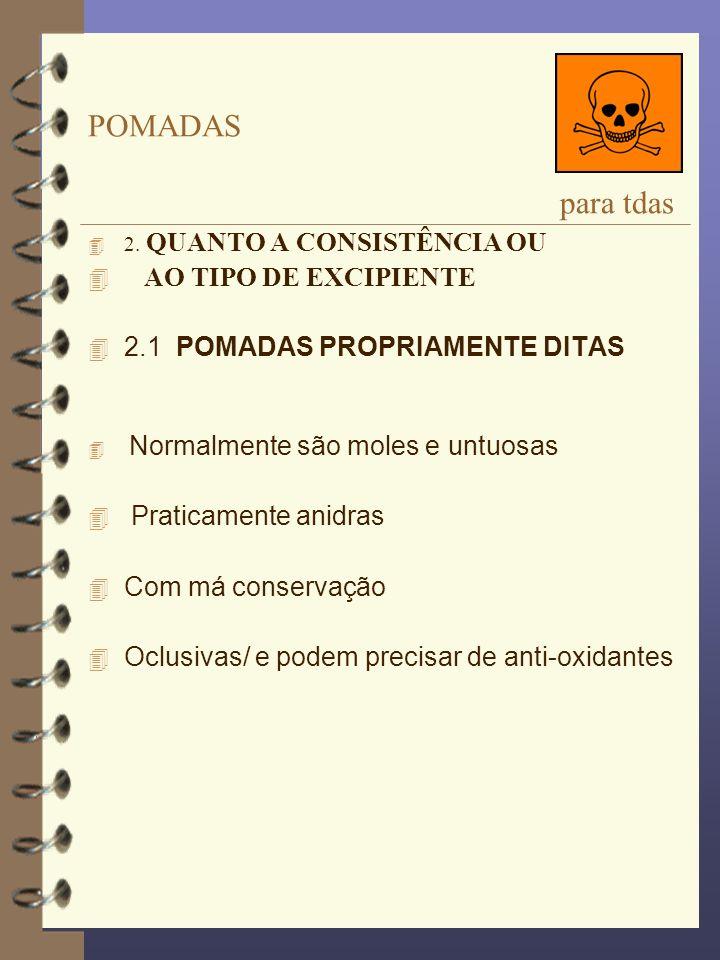 POMADAS para tdas 4 2. QUANTO A CONSISTÊNCIA OU 4 AO TIPO DE EXCIPIENTE 4 2.1 POMADAS PROPRIAMENTE DITAS Normalmente são moles e untuosas 4 Praticamen