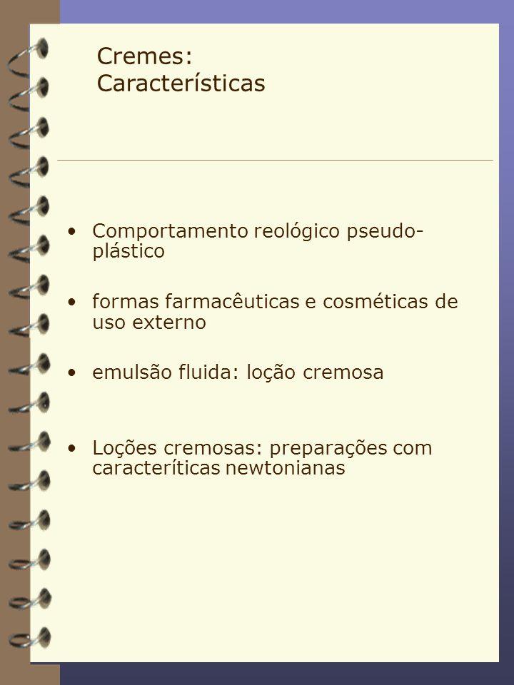 Cremes: Características Comportamento reológico pseudo- plástico formas farmacêuticas e cosméticas de uso externo emulsão fluida: loção cremosa Loções