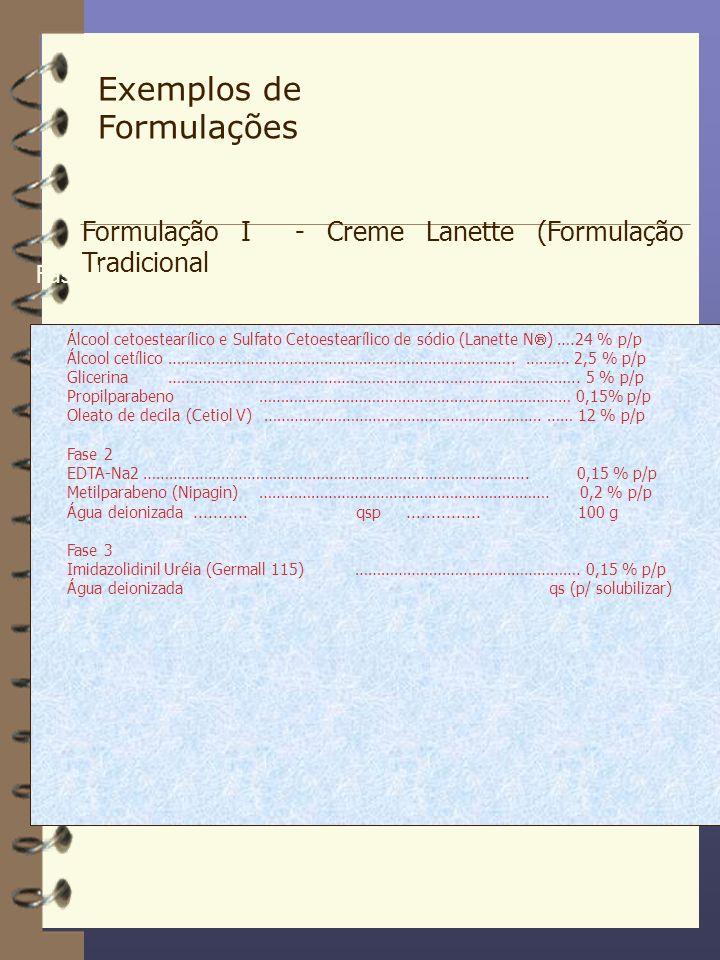 Exemplos de Formulações Formulação I - Creme Lanette (Formulação Tradicional) Fase 1 Álcool cetoestearílico e Sulfato Cetoestearílico de sódio (Lanett