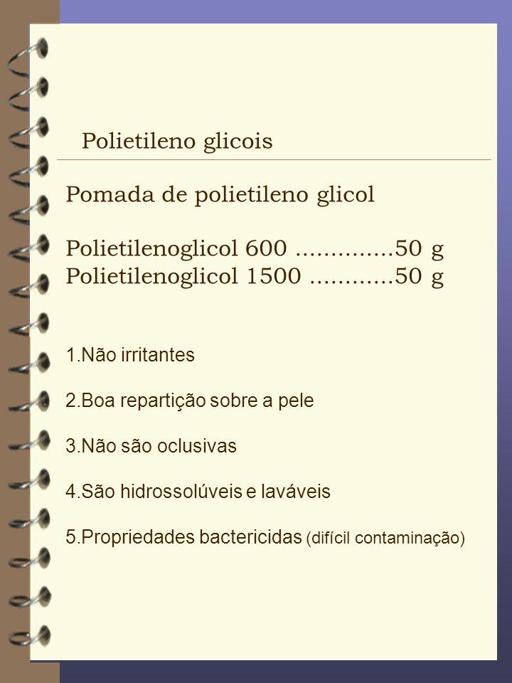 Polietileno glicois Pomada de polietileno glicol Polietilenoglicol 600..............50 g Polietilenoglicol 1500............50 g 1.Não irritantes 2.Boa