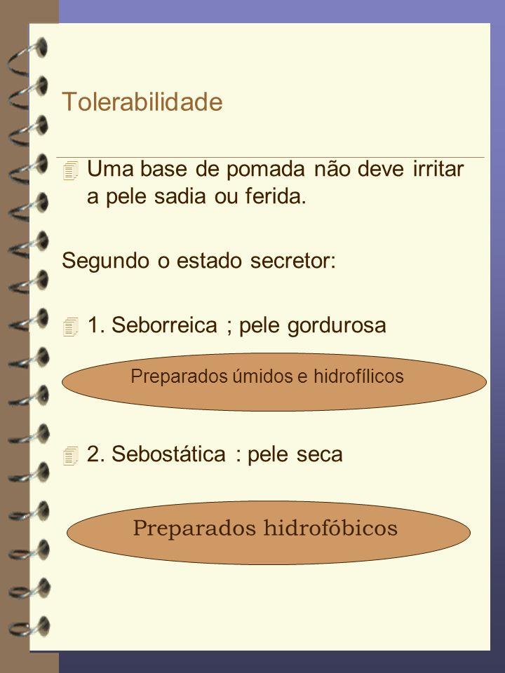 Tolerabilidade 4 Uma base de pomada não deve irritar a pele sadia ou ferida. Segundo o estado secretor: 4 1. Seborreica ; pele gordurosa 4 2. Sebostát