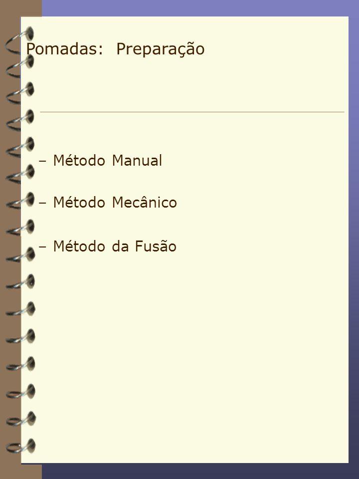 –Método Manual –Método Mecânico –Método da Fusão Pomadas: Preparação