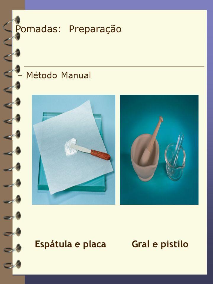 –Método Manual Espátula e placaGral e pistilo Pomadas: Preparação