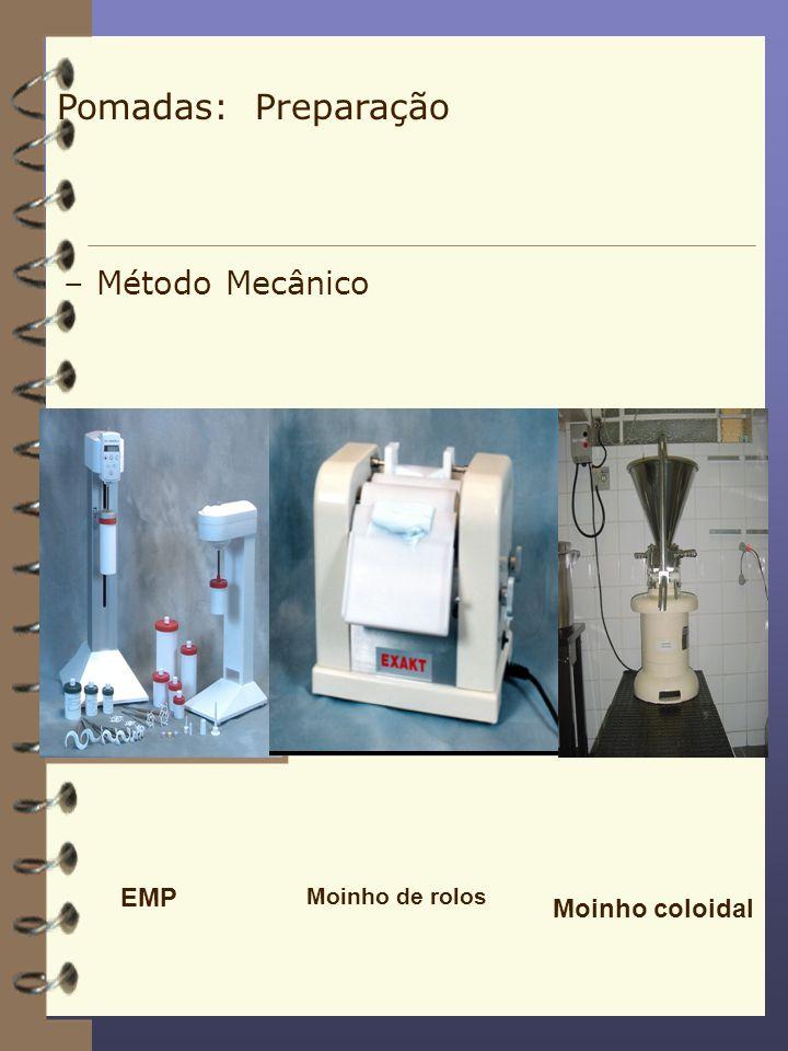 –Método Mecânico EMP Moinho de rolos Moinho coloidal Pomadas: Preparação