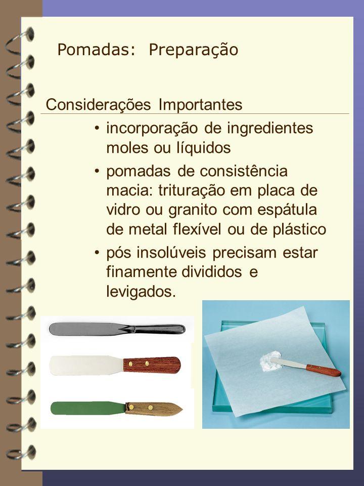 Considerações Importantes incorporação de ingredientes moles ou líquidos pomadas de consistência macia: trituração em placa de vidro ou granito com es