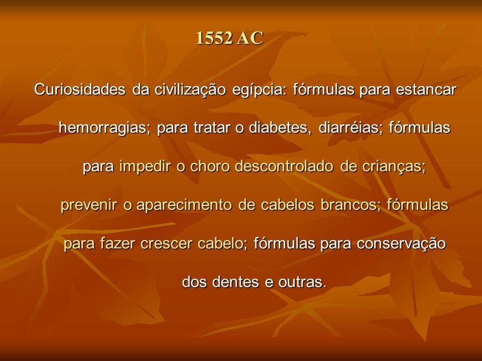 1552 AC Curiosidades da civilização egípcia: fórmulas para estancar hemorragias; para tratar o diabetes, diarréias; fórmulas para impedir o choro desc