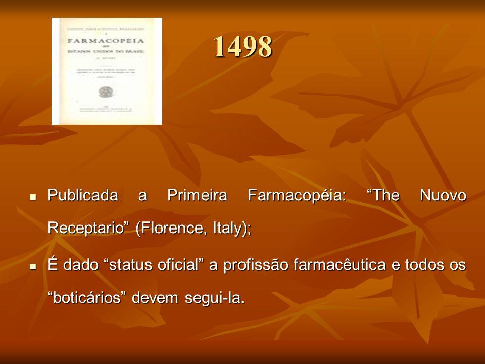 1498 Publicada a Primeira Farmacopéia: The Nuovo Receptario (Florence, Italy); Publicada a Primeira Farmacopéia: The Nuovo Receptario (Florence, Italy