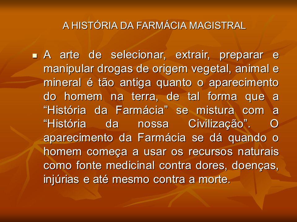 A arte de selecionar, extrair, preparar e manipular drogas de origem vegetal, animal e mineral é tão antiga quanto o aparecimento do homem na terra, d