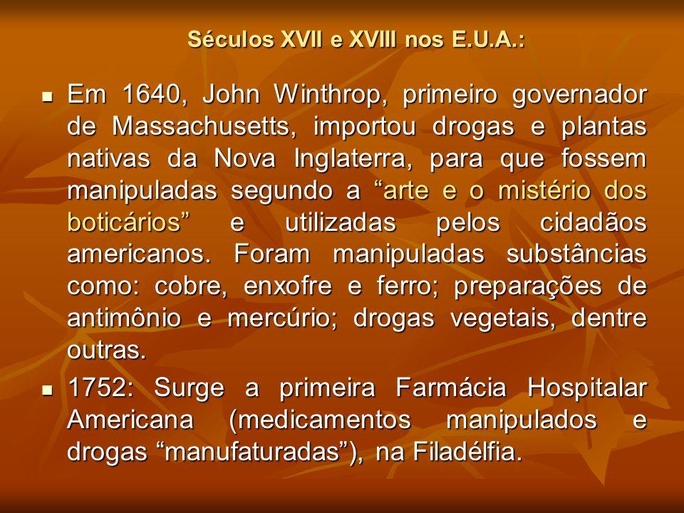 Séculos XVII e XVIII nos E.U.A.: Em 1640, John Winthrop, primeiro governador de Massachusetts, importou drogas e plantas nativas da Nova Inglaterra, p