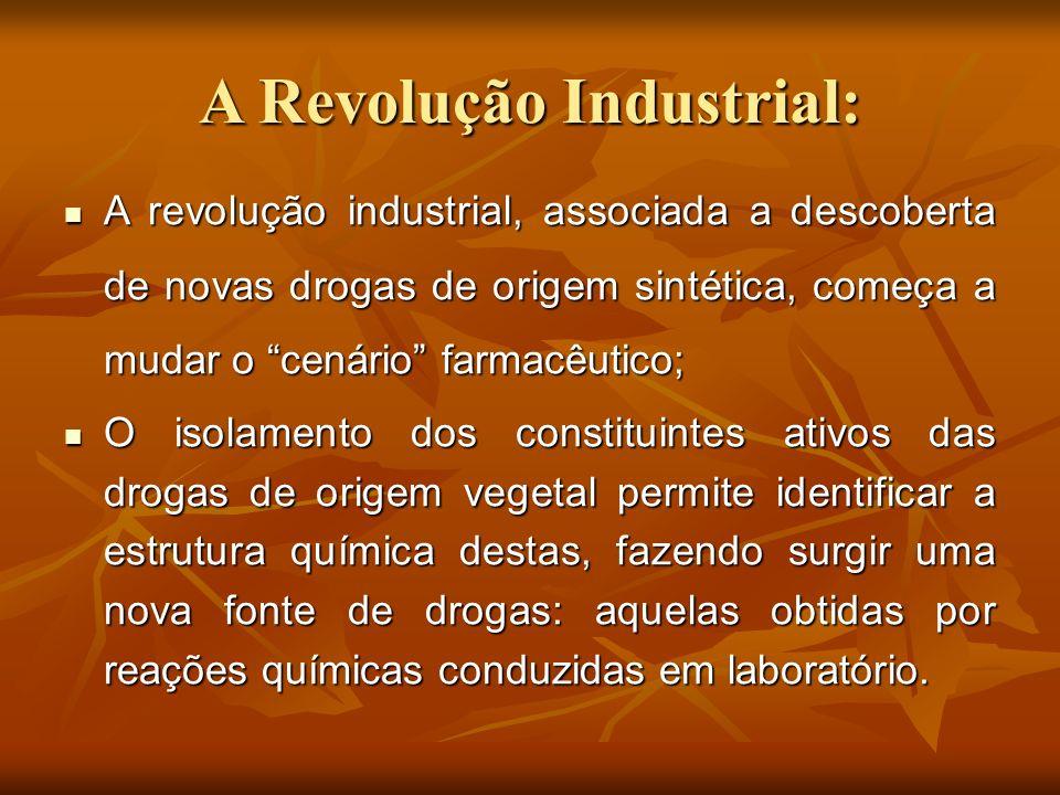 A Revolução Industrial: A revolução industrial, associada a descoberta de novas drogas de origem sintética, começa a mudar o cenário farmacêutico; A r