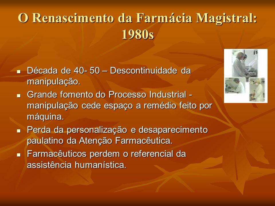O Renascimento da Farmácia Magistral: 1980s Década de 40- 50 – Descontinuidade da manipulação. Década de 40- 50 – Descontinuidade da manipulação. Gran