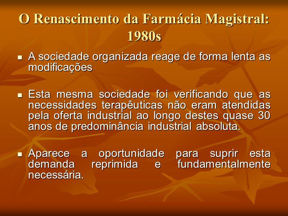 O Renascimento da Farmácia Magistral: 1980s A sociedade organizada reage de forma lenta as modificações A sociedade organizada reage de forma lenta as