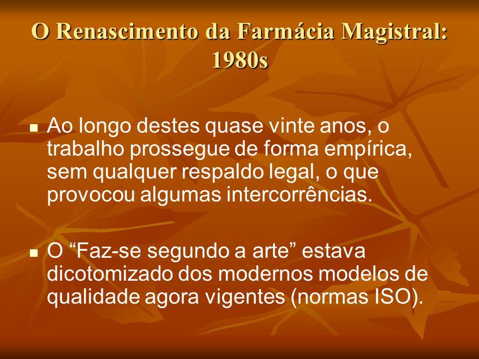 O Renascimento da Farmácia Magistral: 1980s Ao longo destes quase vinte anos, o trabalho prossegue de forma empírica, sem qualquer respaldo legal, o q