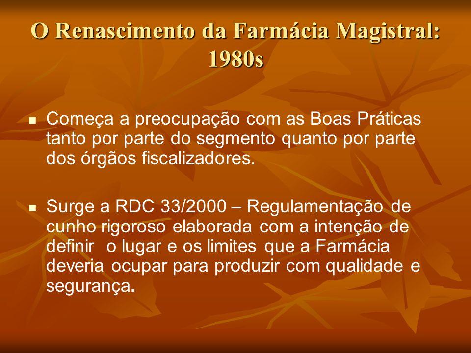 O Renascimento da Farmácia Magistral: 1980s Começa a preocupação com as Boas Práticas tanto por parte do segmento quanto por parte dos órgãos fiscaliz