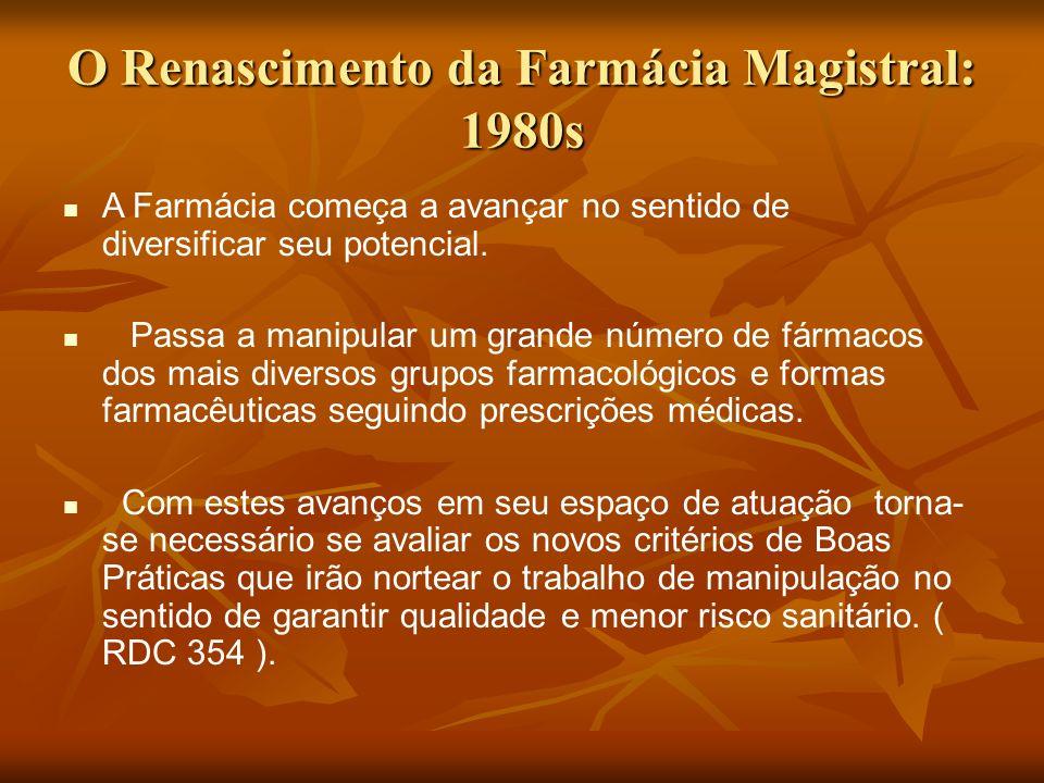 O Renascimento da Farmácia Magistral: 1980s A Farmácia começa a avançar no sentido de diversificar seu potencial. Passa a manipular um grande número d