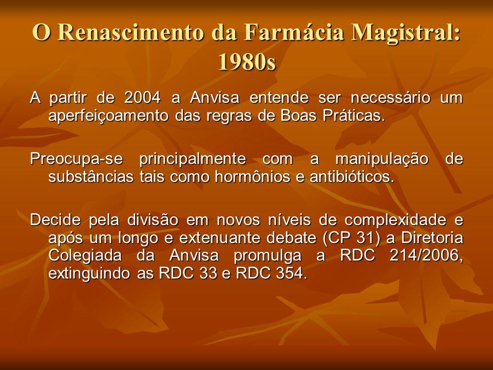 O Renascimento da Farmácia Magistral: 1980s A partir de 2004 a Anvisa entende ser necessário um aperfeiçoamento das regras de Boas Práticas. Preocupa-