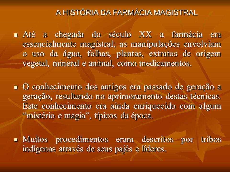 Até a chegada do século XX a farmácia era essencialmente magistral; as manipulações envolviam o uso da água, folhas, plantas, extratos de origem veget