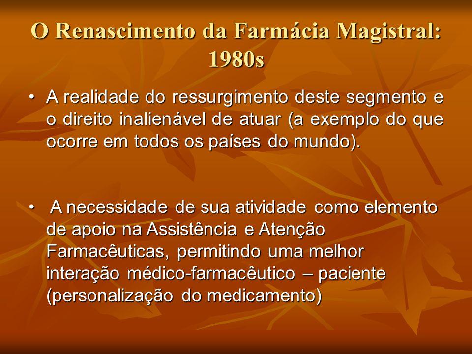O Renascimento da Farmácia Magistral: 1980s A realidade do ressurgimento deste segmento e o direito inalienável de atuar (a exemplo do que ocorre em t